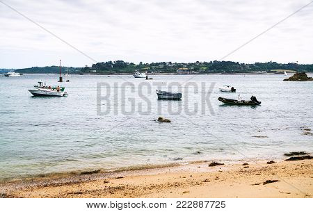 ILE-DE-BREHAT, FRANCE - JULY 4, 2010: boats near Guerzido beach in Brehat commune. Ile-de-Brehat is island and commune located near Paimpol town, a mile from the northern coast of Brittany