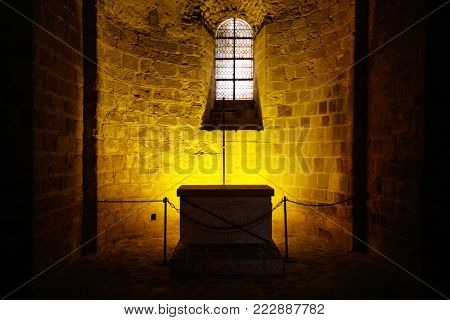 LE MONT SAINT-MICHEL - JULY 5, 2010: chapel in Saint Michael's Abbey. Le Mont Saint-Michel is an island commune in Normandy, first monastic on the mount was built in the 8th century