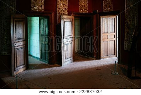 CHAMBORD, FRANCE - JULY 7, 2010: three open doors in castle Chateau de Chambord. Chambord is the largest chateau in the Loire Valley, it was built as a hunting palace in 1519-1547 for Francis I
