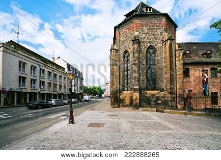 COLMAR, FRANCE - JULY 11, 2010: view of building of Unterlinden Museum from street Rue Kleber. The museum is housed in 13th-century Dominican convent and a 1906 former public baths building