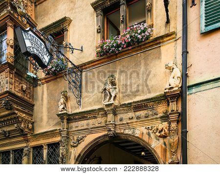 COLMAR, FRANCE - JULY 11, 2010: facade of Maison des Tetes (House of Heads) on Rue des Tetes in Colmar.This house was built in 1609 by architect Hans Burge
