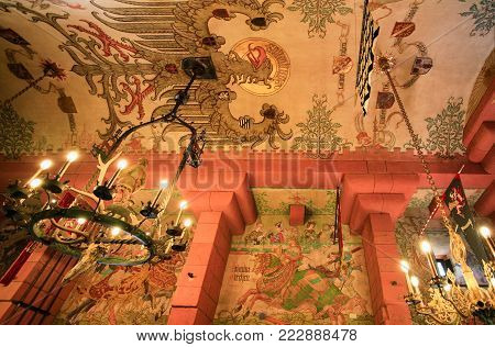 ORSCHWILLER, FRANCE - JULY 11, 2010: ceiling in hall in castle Chateau du Haut-Koenigsbourg in Alsace. First time the castle was mentioned in 1147, the building was restored and rebuilt in 1900-1908