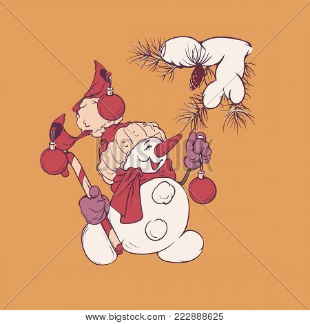 Character Of Snowman Holding Candy Cane Decorating Pine Brunch, Cardinal Bird Are Holding In Its Bea