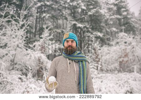Bearded Man With Snowball In Snowy Forest