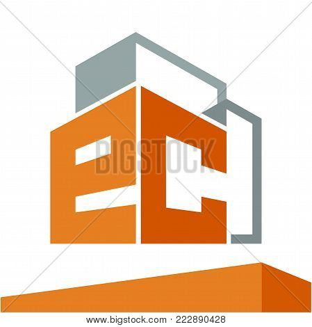 Icon logo initial for business development of construction services, with combination of letters E & C