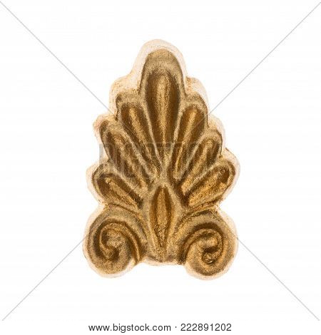 Gold bas-relief isolated on white background. Decor and decoration