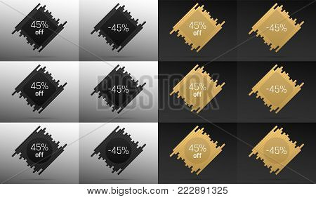 Creative Sale Banner with 45% Off. Offer of Price Discount on Background consisting of Bars with Metallic Black and Golden Color. Vector Collection of Sale Badges with Discount.