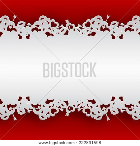 White laced background with hearts, lips and cupid's arrow vector illustration on red background for valentines day or women day greeting card, paper cut out art style