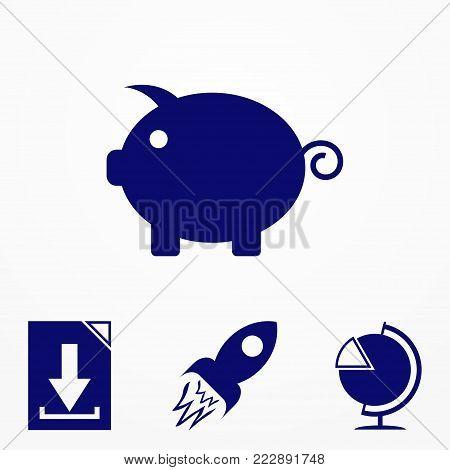 Piggy vector icon. Piggy bank vector icon