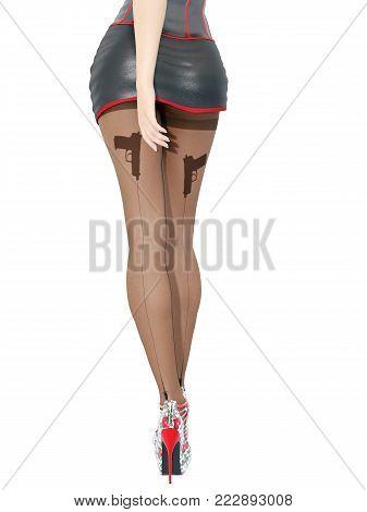 Woman detective.Dark nylon tights with guns, bullets and trajectory line.Short skirt corset.Female domination.Sexy slim female legs dark pantyhose.Seductive pose.Conceptual fashion art.3D render