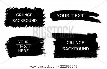 Grunge set of black paint, ink brush strokes, brushes, lines. Dirty artistic design elemens, frames for text - stock vector.