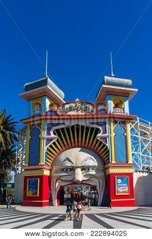 Melbourne, Australia - December 7, 2016: Melbourne Luna Park amusement park entrance on sunny day