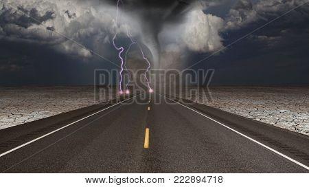 Tornado funnel in desert road landscape. 3D rendering