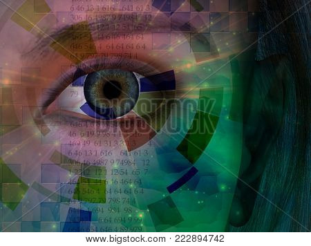 Closeup of eye with abstract and binary code. 3D rendering