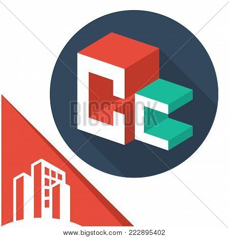 icon logo initials letters with isometric perspective style, with a combination of letters C & C