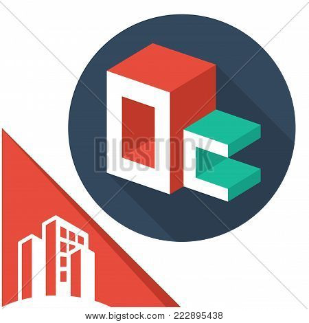 icon logo initials letters with isometric perspective style, with a combination of letters O & C