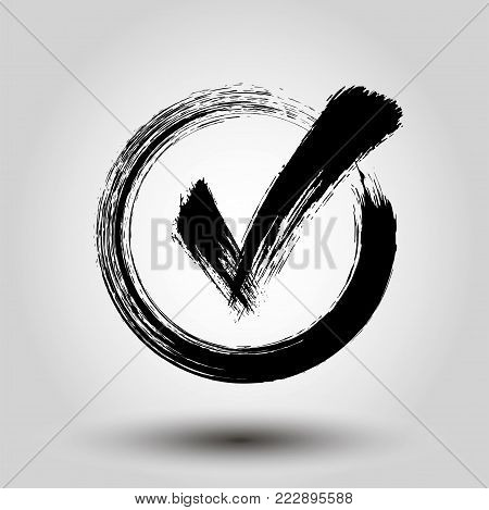 Grung style check mark - stock vector.