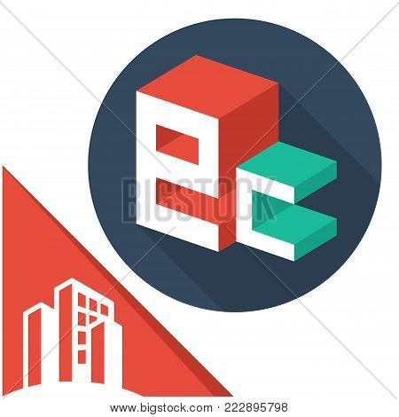 icon logo initials letters with isometric perspective style, with a combination of letters E & C