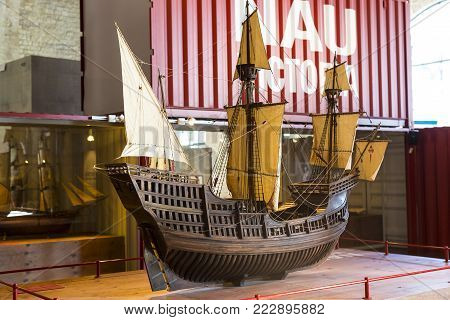 BARCELONA, SPAIN - 11 JANUARY 2018: Expositions in the naval museum located in the city's port in the old ship of building trusts and the naval corps of the Port Vell area of Barcelona.