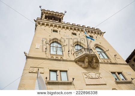 Public Palace in San Marino.San Marino.Republic of San Marino.The San Marino public palace is also known as the Government Palace, and is the place where the official ceremonies and headquarters of the major institutions take place.