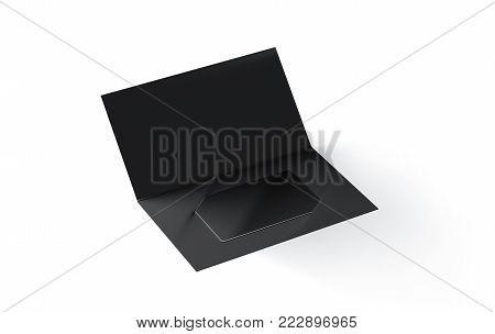 Blank black plastic card mockup inside paper booklet holder isolated, 3d rendering. Clear loyalty program folded brochure with certificate mock up. Customer loyal booklet envelope template.