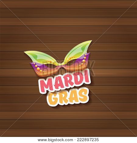 vector new orleans mardi gras carnival label with mask and text on wooden wall background. vector mardi gras party or fat tuesday poster design template with space for text