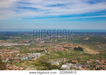 The hills of San Marino.Republic of San Marino.View of the hills from San Marino and in the distance the Adriatic Sea.