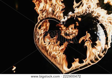 Happy Valentine's Day Card.heart Shaped Firework On Black Background, Fire Show In Night.  Bengal Fi