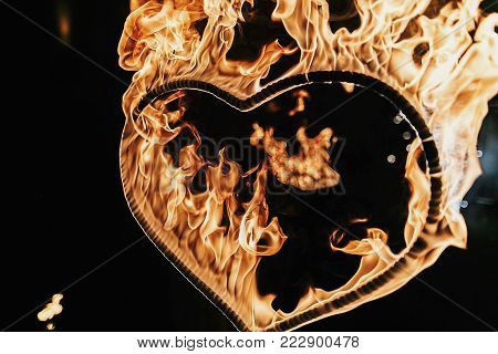Heart Shaped Firework On Black Background, Fire Show In Night. Happy Valentine's Day Card. Bengal Fi