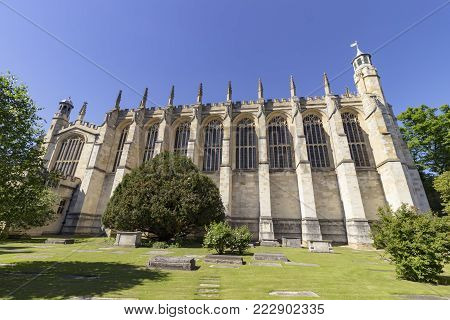 Windsor, England - 26 May 2017: Architecture of the Eton College Chapel And Cemetery in the city of Windsor, England.