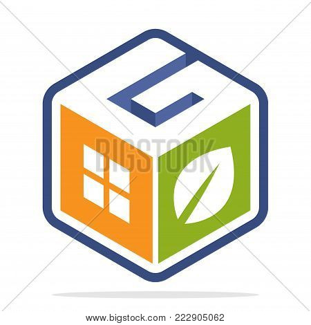 icon logo construction business with the concept of environmentally friendly homes and the initial of the letter G