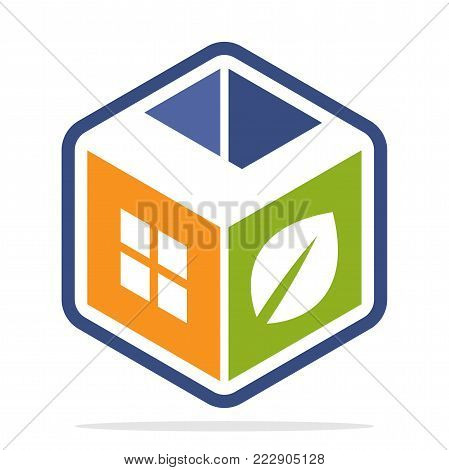 icon logo construction business with the concept of environmentally friendly homes and the initial of the letter L