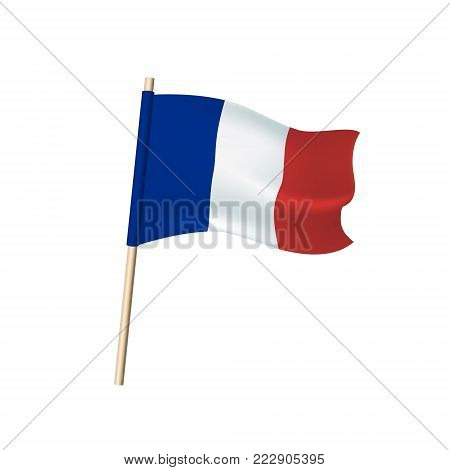 France Tricolor (blue, White And Reds) Flag On White Background.