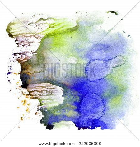 Watercolor texture, an impression of bright saturated blue colors. Illustration. Watercolor abstract background, spots, blur, fill, print rub poster