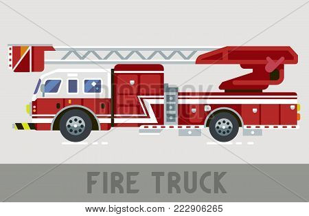 Red and White Fire Dept Truck in Flat Style