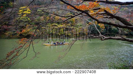 Kyoto, Japan - Nov 28, 2016. A Tourist Boat On Hozu River At Arashiyama In Kyoto, Japan. Arashiyama