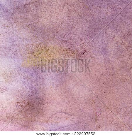 Watercolor texture of transparent purple, lilac, pink, ocher, gray. Illustration. Watercolor abstract background, spots blur fill print splashing rub