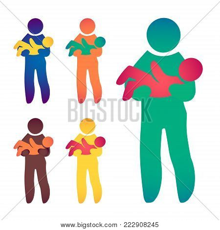 Happy Single Dad and Baby. Icon multicolored in simple figures. Symbol of single parenthood. Vector can be used as logotype.