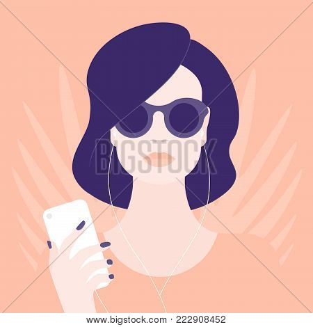 A woman in sunglasses listening to music on her mobile phone. Girl in headphones. Vector illustration of a minimalist style