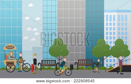 City street concept vector illustration in flat style. Street food cart or tricycle coffee bike, sports ramp and people buying coffee to go, riding bicycle and skateboard. Flat style design.