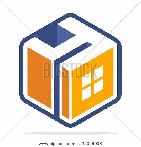 Icon logo for business development of construction services, in the hexagon shape with the initial of the letter Y