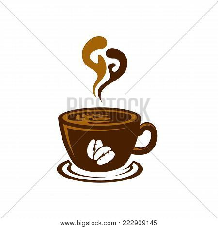 coffee shop logo template natural abstract coffee cup with steam coffee house emblem creative cafe logotype modern trendy symbol design vector illustration