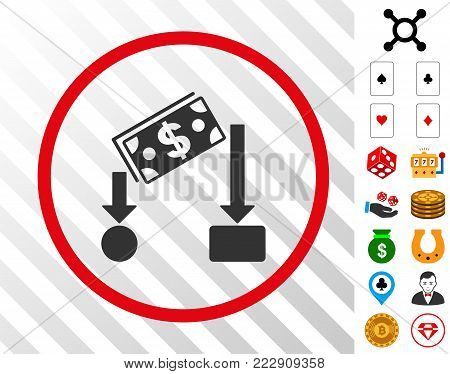 Cash Flow grey icon inside red circle with bonus gamble graphic icons. Vector illustration style is flat iconic symbols. Designed for gamble software.