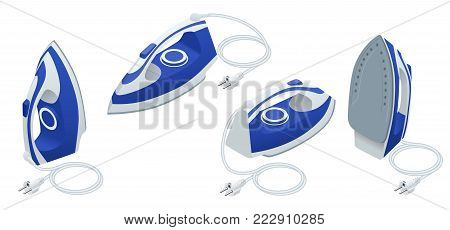 Isometric set of steam iron isolated on white background. iron housework ironed electric tool clean white background ironing steam housekeeping