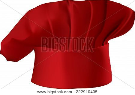 Vector illustration of a red chef's hat isolated on white background