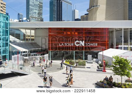 TORONTO,CANADA-AUGUST 2,2015:Suggestive view of the main entrance cn tower in downtown Toronto during a sunny day
