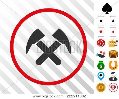 Job Hammers gray pictograph rounded with red circle with bonus gamble icons. Vector illustration style is flat iconic symbols. Designed for gamble apps.