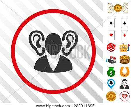 Listener grey icon rounded with red circle with bonus gambling graphic icons. Vector illustration style is flat iconic symbols. Designed for casino gui.