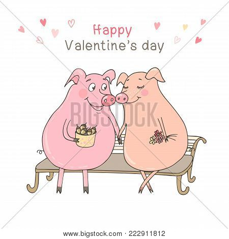 Two cute pigs sitting on a bench. Funny vector illustration for Valentine's Day, wedding design, scrapbook, gift wrapping paper, textiles. Cartoon style.