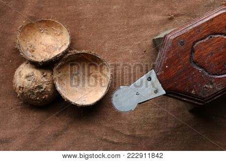 Coconut shell with the grater in Thailand.